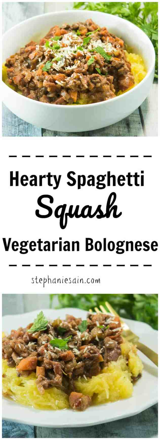 This Hearty Spaghetti Squash Vegetarian Bolognese is chocked full of onions, carrots, celery, & mushrooms. A tasty, filling meal that is perfect for any night of the week. Gluten free & Vegetarian.