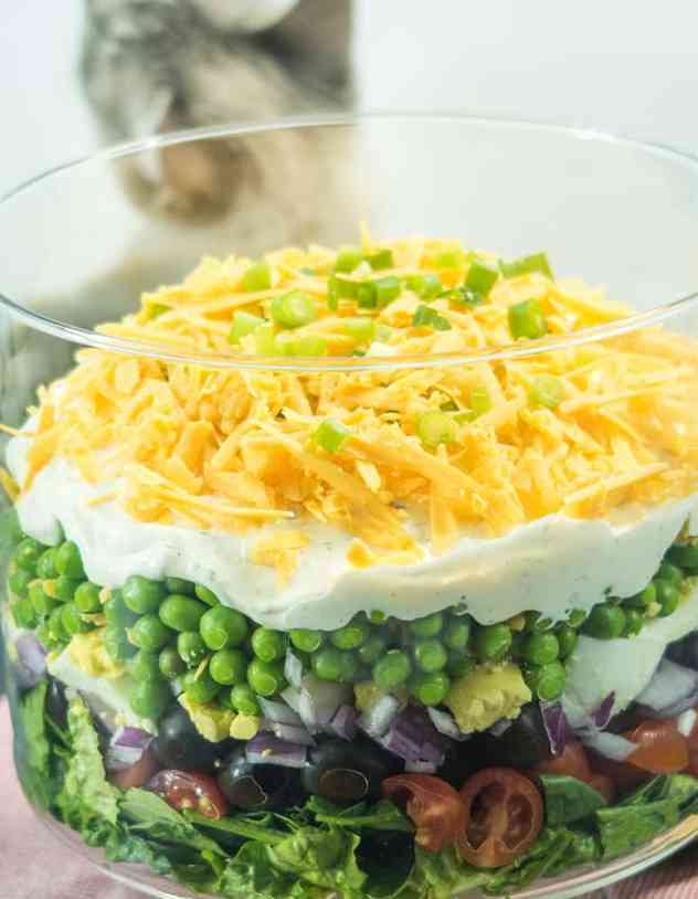 Simple Make Ahead 7 Layer Pea Salad