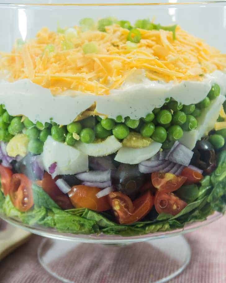 Simple Make Ahead 7 Layer Pea Salad