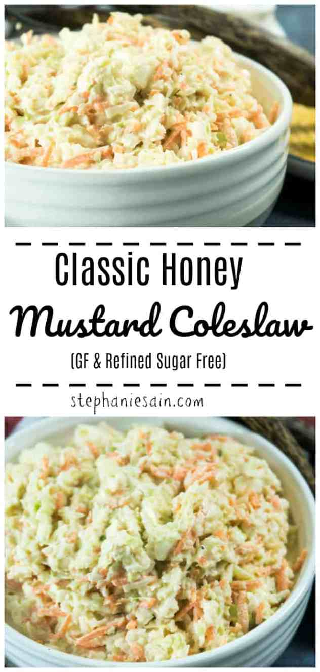 This Classic Honey Mustard Coleslaw is perfect for all your summer BBQ's, picnics, & gatherings. Super easy, & quick to prepare with only a few ingredients. Gluten Free & No added refined sugars.