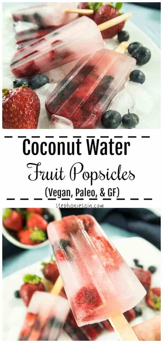 These Coconut Water Fruit Popsicles are a fun refreshing way to stay hydrated in the warm summer months. Only 2 ingredients for a healthy family friendly popsicle. Great for 4th of July party with the red, white & blue berries. Vegan, Paleo, & Gluten Free.