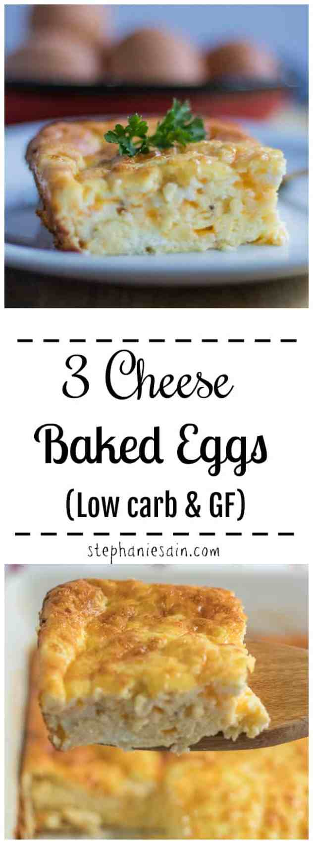 These 3 Cheese Baked Eggs are fluffy, light, super creamy & delicious. Great for breakfast, brunch, or dinner. The perfect way to feed a group of people without standing over the stove. Low Carb & Gluten Free.