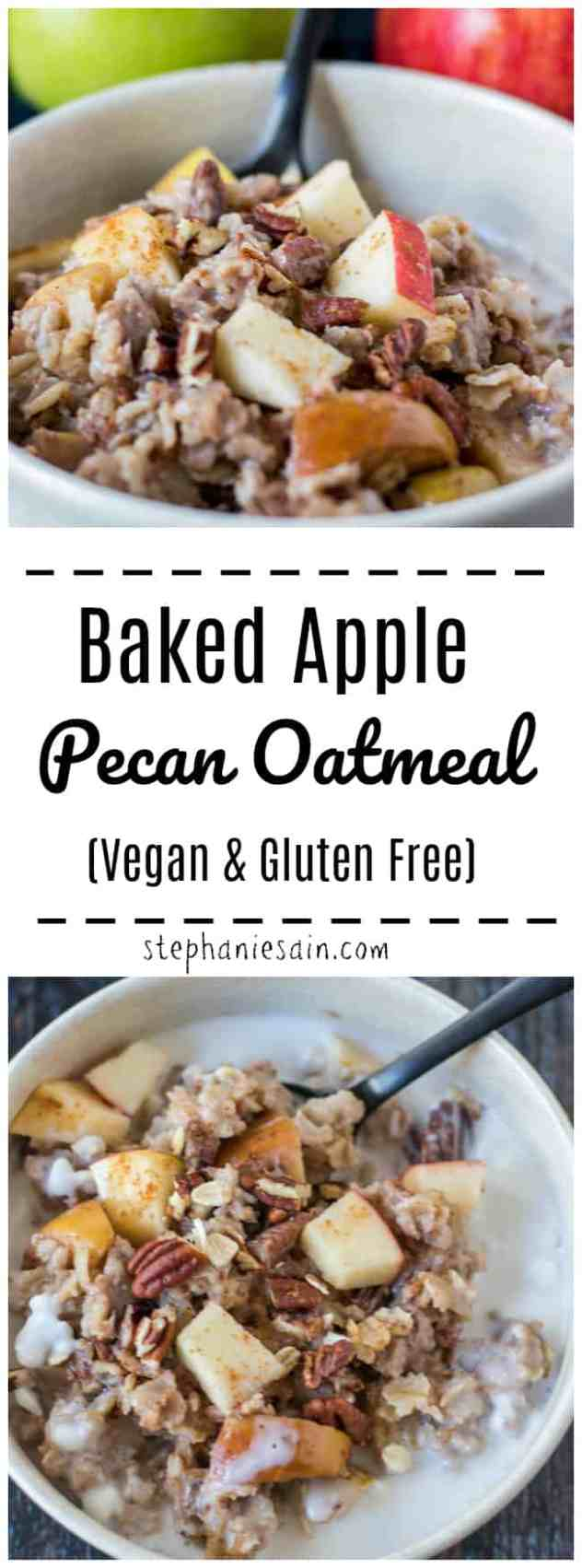 This Baked Apple Pecan Oatmeal is loaded with all the flavors of Fall. Apples, pecans, cinnamon & nutmeg baked in your oatmeal for a delicious breakfast the whole family will love. Also good for serving guests. Vegan & Gluten Free.