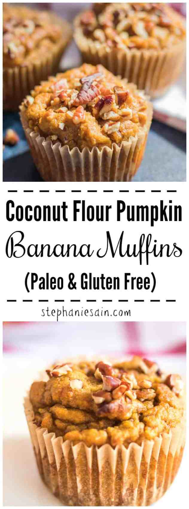 These Coconut Flour Pumpkin Banana Muffins are flavored with all the Fall seasonings. Deliciously moist, easy to prepare and a great healthy breakfast or snack. Also perfect for lunch boxes. Paleo, GF, & No Added Refined Sugars.