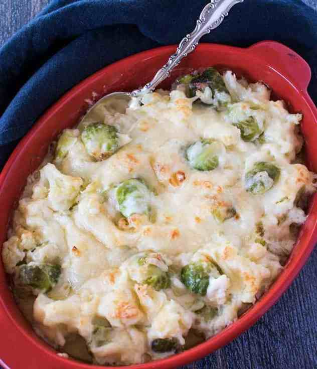 Cauliflower & Brussels Sprouts combined in a cheesy au gratin in a casserole dish.