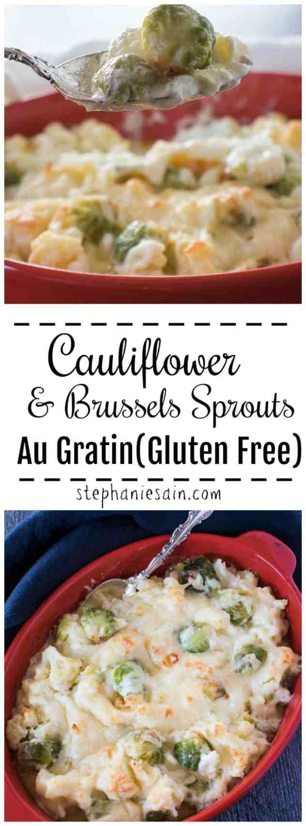 This Cauliflower Au Gratin is made extra special with the addition of brussels sprouts. Creamy, cheesy, & delicious with a light golden crust. Great for a holiday side or anytime you want a special dish. Gluten Free.