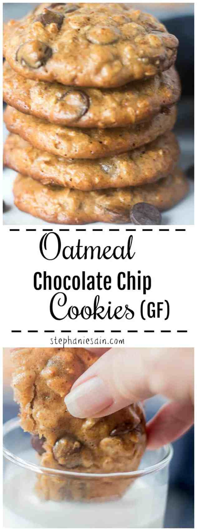 These Flourless Chocolate Chip cookies are loaded with oatmeal, dark chocolate chips and almond butter for a healthier snack or dessert. Great for lunch boxes or snacks. Chewy, slightly crunchy and made without any added refined sugars. Gluten Free.