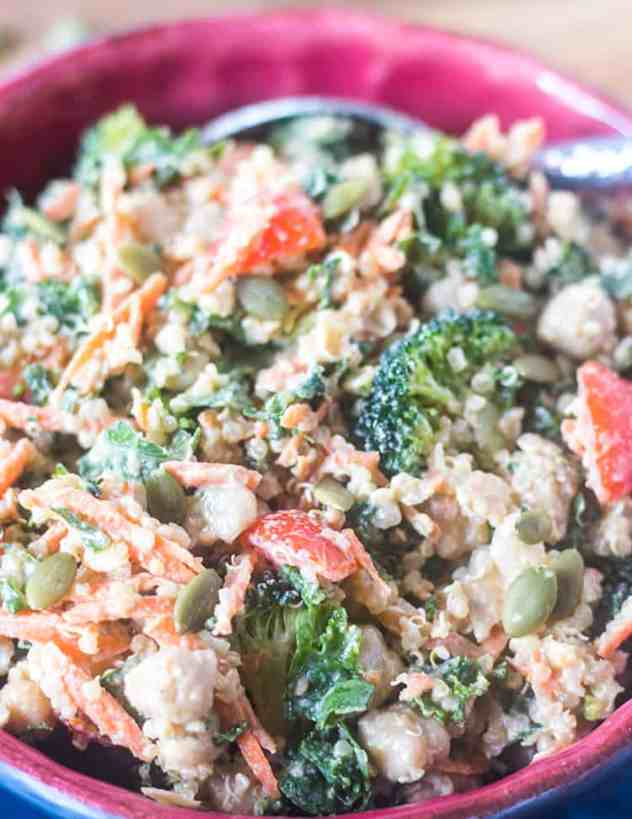 Kale Quinoa Salad in a bowl with tahini dressing