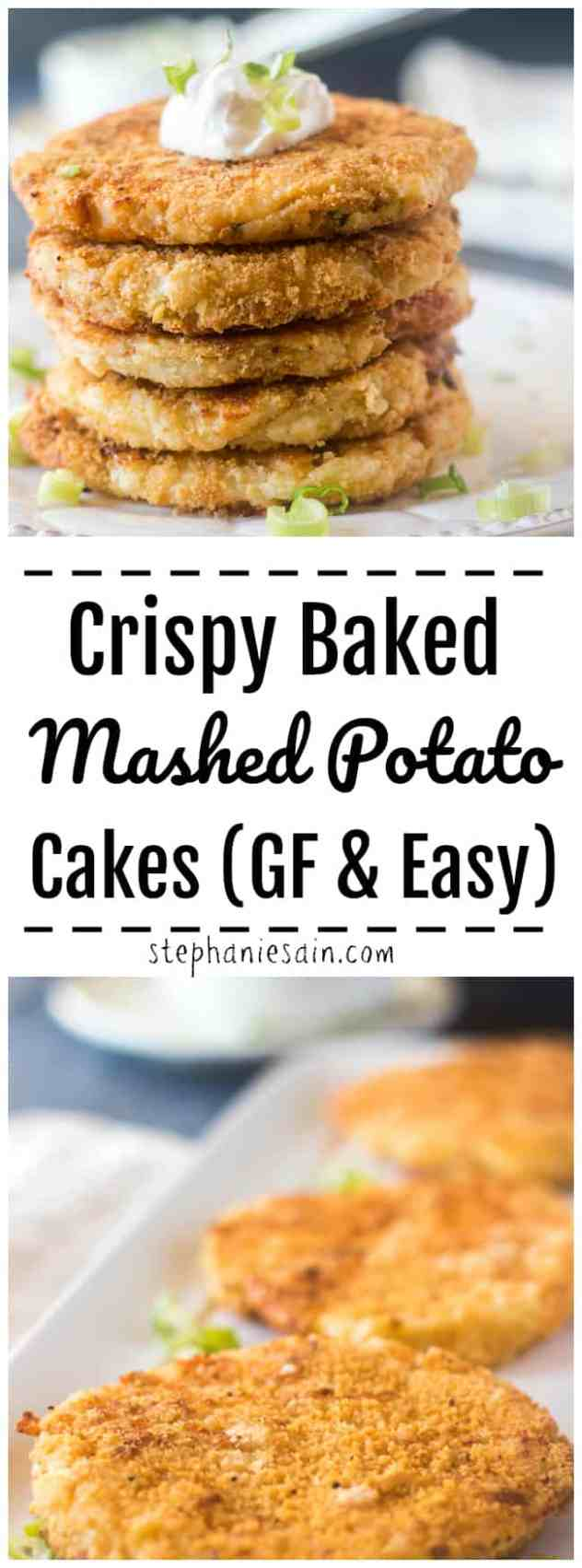 These Mashed Potato Cakes are oven baked and crispy, cheesy and perfect as a side to any meal. Also great as snack or appetizer. Only 4 ingredients needed to make this super easy delicious potato cakes. Gluten Free & Easy.