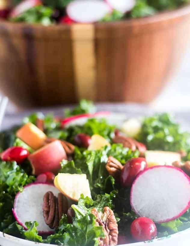 Apple Cranberry Kale Salad in a bowl