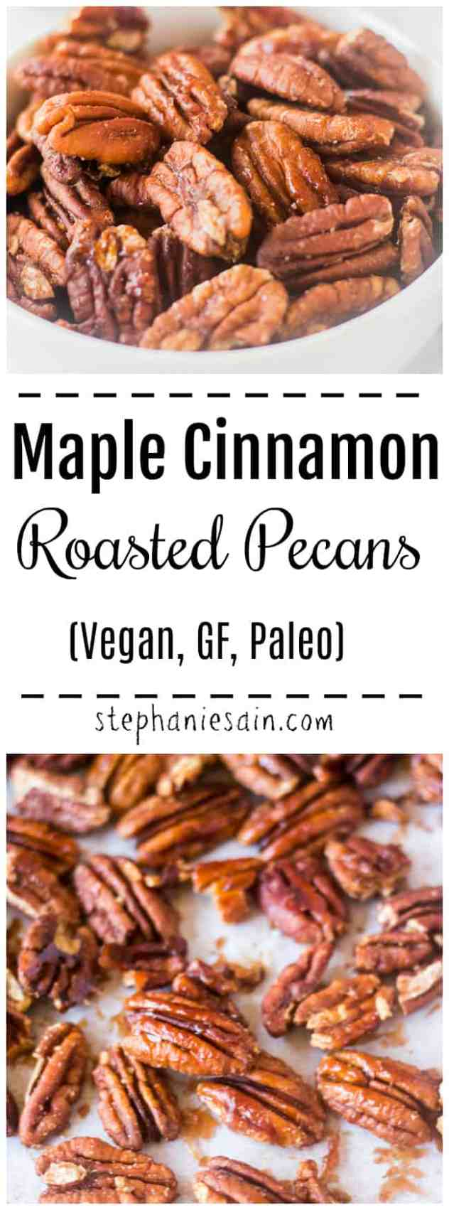 These Maple Cinnamon Roasted Pecans are made with only 4 ingredients and under 15 minutes. Great for snacks, holidays, & parties. Vegan, GF, Paleo, & No added refined sugar.