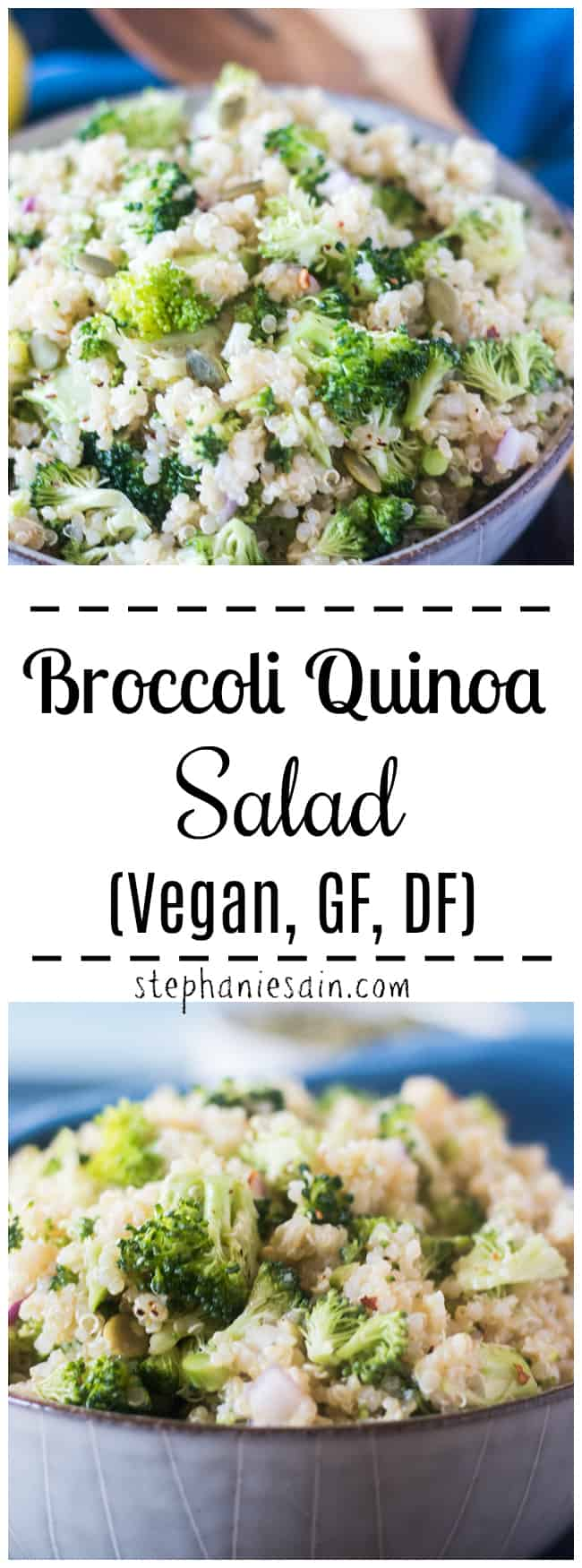 This Broccoli Quinoa Salad is super easy to make and comes together in under 20 minutes. A tasty, healthy recipe that's perfect to make ahead since the flavors intensify more over time. Great for quick lunches and dinners. Or potlucks and gatherings. Vegan, GF, Dairy Free.