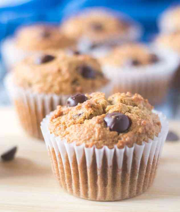 Coconut Flour Chocolate Chip Muffins in baking cups on a serving board.