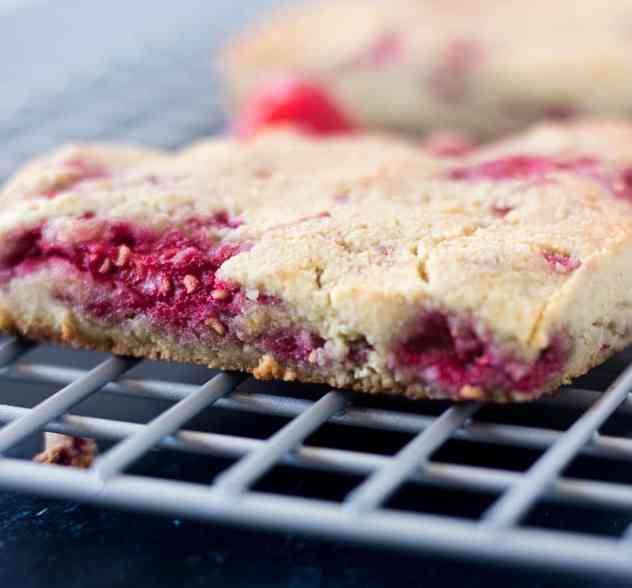 Raspberry Scone on a cooling rack.