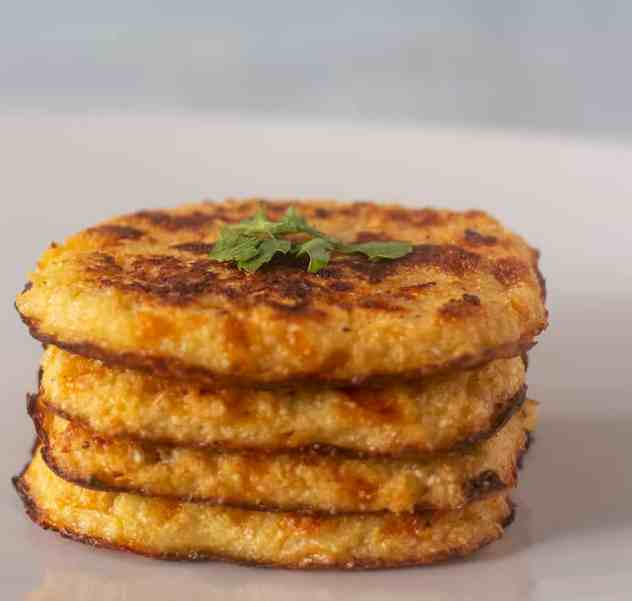 Cauliflower Hash Browns on a plate.