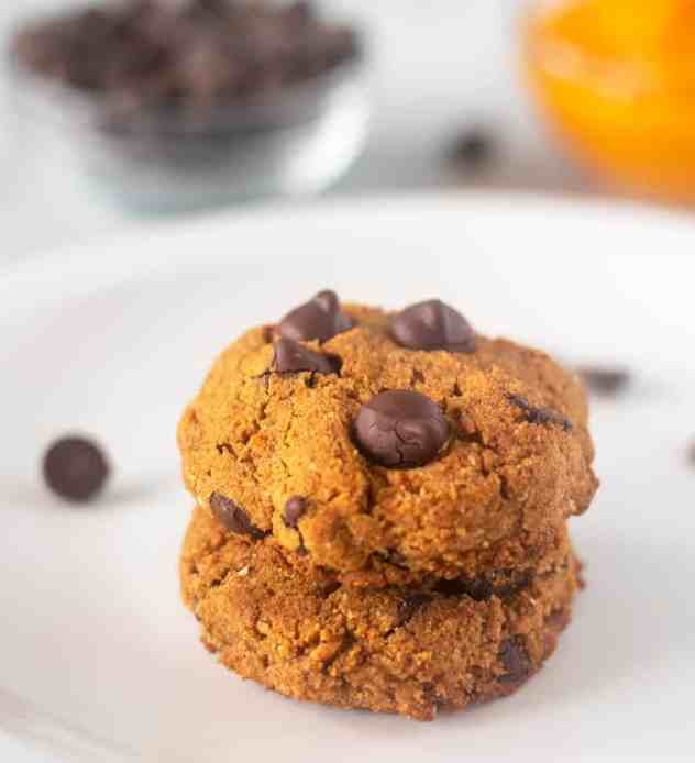 Pumpkin Chocolate Chip Coconut Flour Cookies