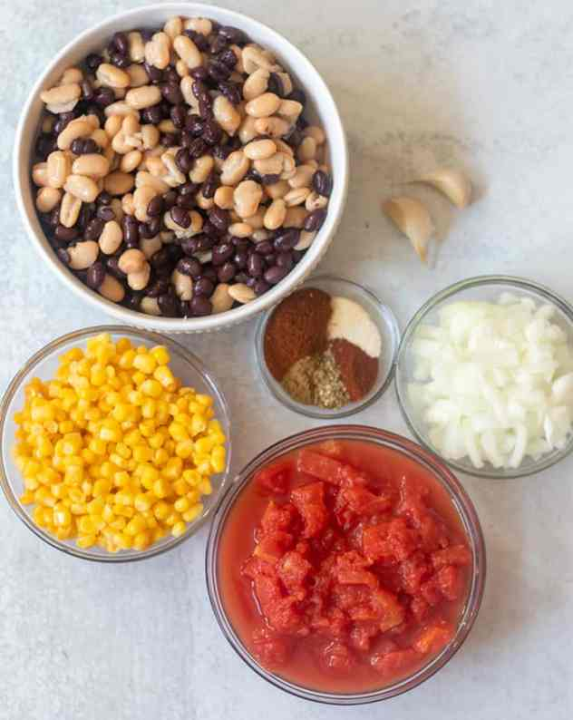 beans, corn, tomatoes, garlic, onion, and seasonings.