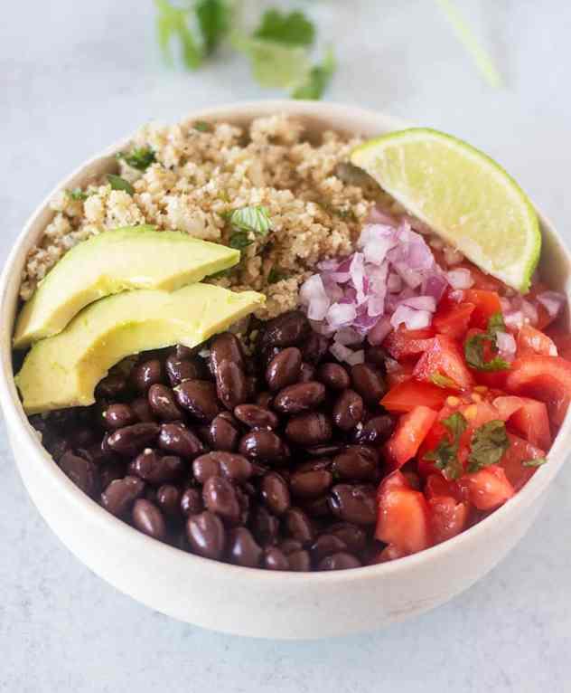 Burrito Bowl ingredients in a white bowl