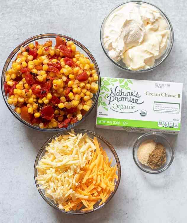 corn, tomatoes, chilies, cheese, cream cheese, mayo, sour cream, seasonings