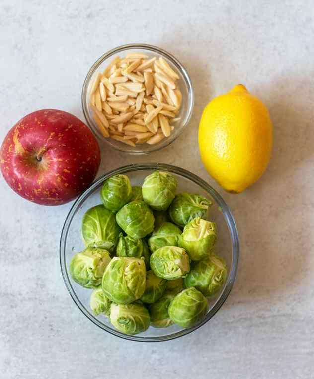 brussel sprouts, apple, almonds, lemon