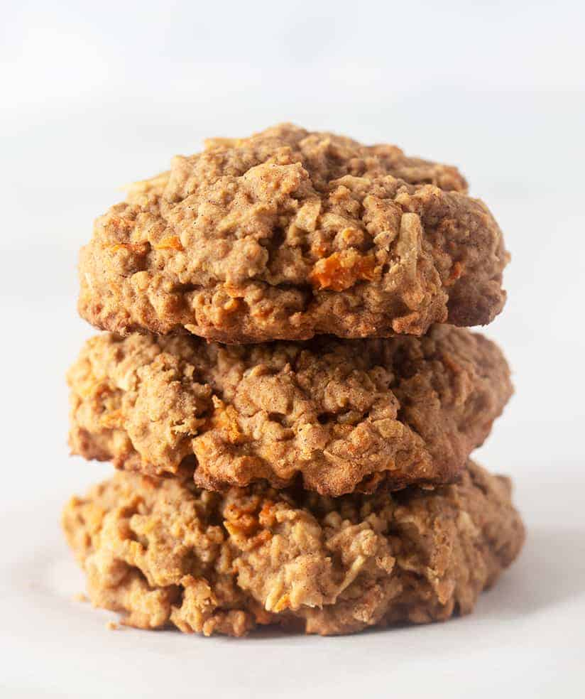 carrot cake cookies stacked