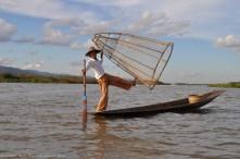 Fishermen showing his net, Inle Lake, Myanmar