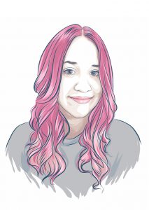 drawn image of Stephanie Tillman, with billowing pink hair