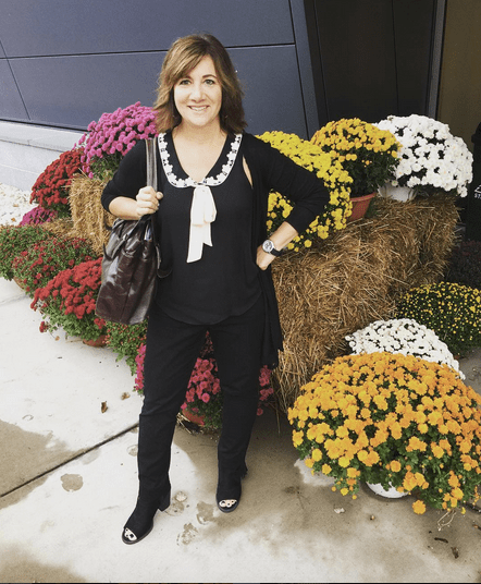 FRIDAY | #FROCKTOBER | Day 21 #currentmood - All in black in this #ootd. #whitehouseblackmarket pants; #laurenconrad bow top and long sweater with lace detail. Fringe booties by #sodashoes. #kennethcole bag.