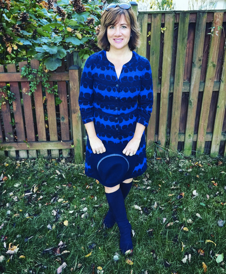#FROCKTOBER | Day 25 Wearing #Boden from top to bottom in today's #ootd -- corduroy dress in navy and medium blue with (Elvis would be happy) blue suede (shoes) boots. #Mudd hat. It's chilly here and feels like fall. 🍁🍂🎃 Have a good evening, everyone!
