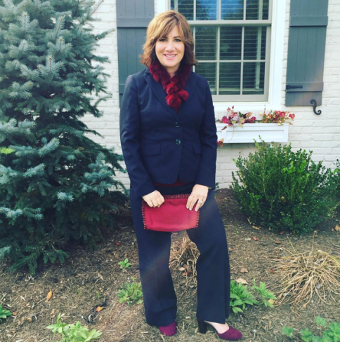 #FROCTOBER | Day 31, Part 1--This is it, friends! I made it through the month of fashion. Because I taught the Internship Preparation course today, and we talked about how to dress for interviews and work, I thought I'd sport a suit from my professional wardrobe. This #ootd is an #anntaylor suit; #mossimo cranberry cami; #christiansiriano shoes; cranberry faux fur scarf from #Macy's. I'll have one last outfit later tonight to end the feature. #happyhalloween !!! 🎃🕸🍁🍂