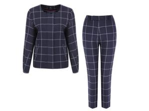 Get the look... DON'T WEAR: head-to-toe grey - fine back then, dull, dull, dull now. DO WEAR: a matching suit in a so-this-season punchy print or pattern - we love this checked trouser set from Marks & Spencer. Best of British jacket, £175, and matching trousers, £119, M&S