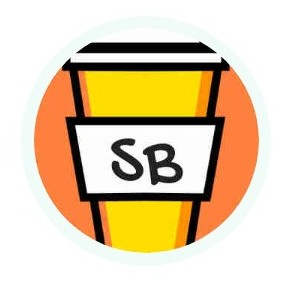 cup of coffee cartoon with initials SB on the front