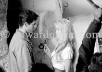 """Brigitte Bardot and Stephen Boyd during the filming of """"Les Bijoutiers du clair de lune"""" (""""The Night Heaven Fell""""), on the grounds of the Victorine Film Studios in Nice. Directing the film is Brigitte's ex-husband Vadim. Nice 1958."""