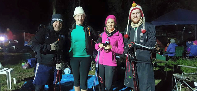 Stephen brumwell and crew at the Oxfam trailwalker 2015 at night