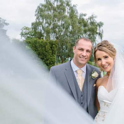 Norfolk wedding photographer – bride and groom veil