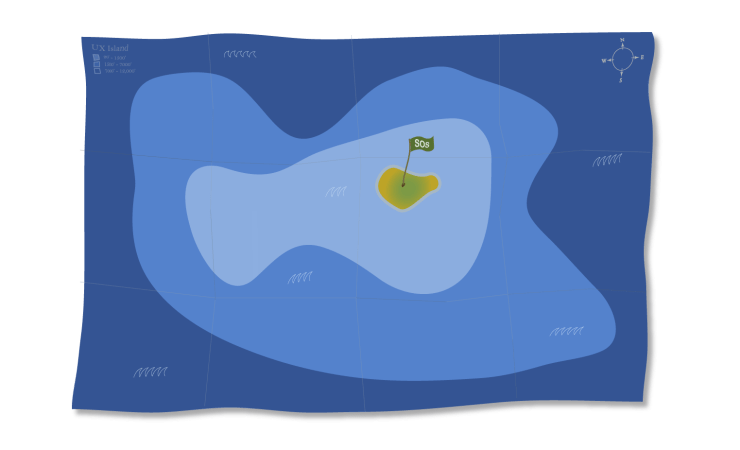 UX island, vector map, aerial view