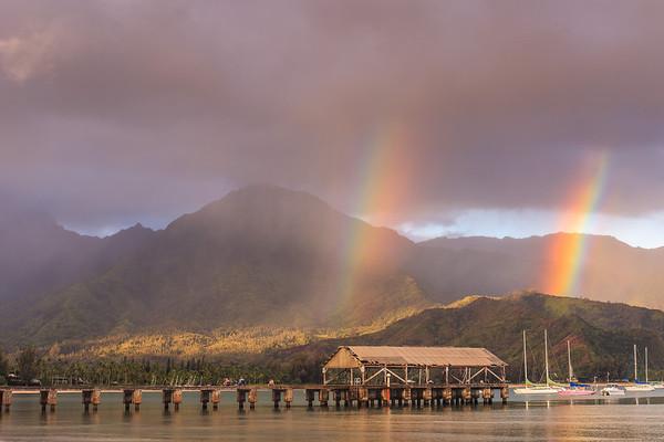 Double Rainbow to Start the Day!Hanalei Pier @ SunriseHanalei Bay, Kauai, Hi. August 2012
