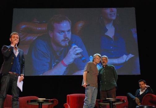 A l'écran à gauche Jérémy du Club Stephen King et à droite... moi !