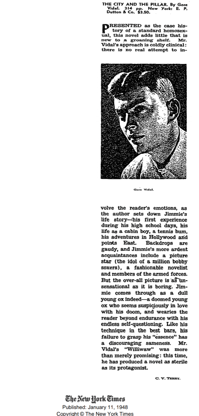 The City and the Pillar, 1948, New York Times Review