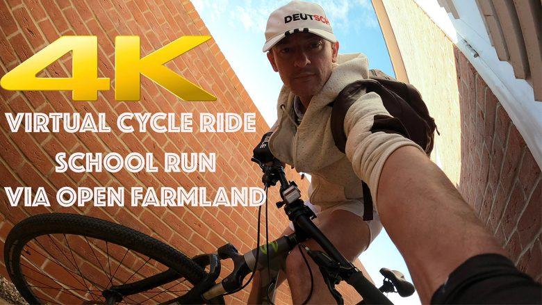 4K HD Virtual Cycle / Bike Ride in Great Notley, Essex   School Run and Open Farmland