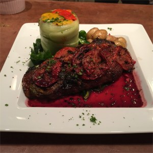 GRILLED FLANK STEAK WITH POMOGRANATE REDUCTION & STUFFED CUCUMBER WITH ROASTED PEPPER SALAD