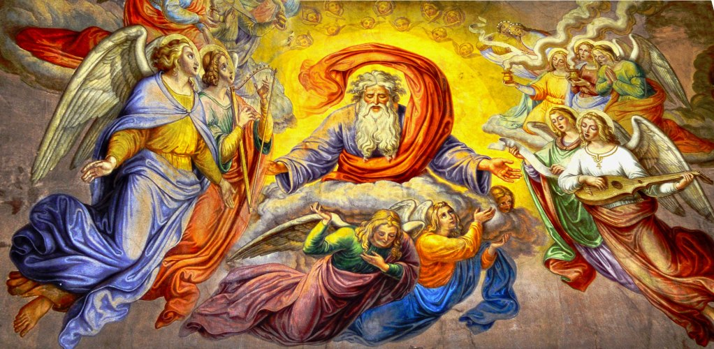 Painting of God in heaven with angels
