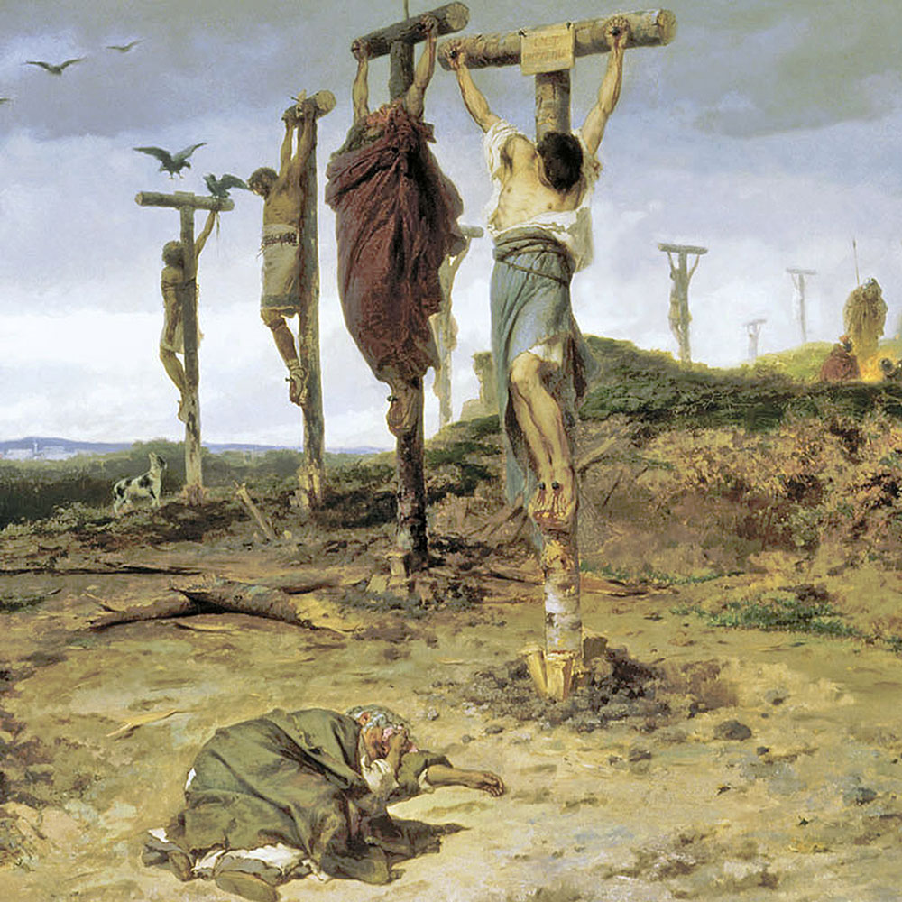 Painting of crucifixion of several people.