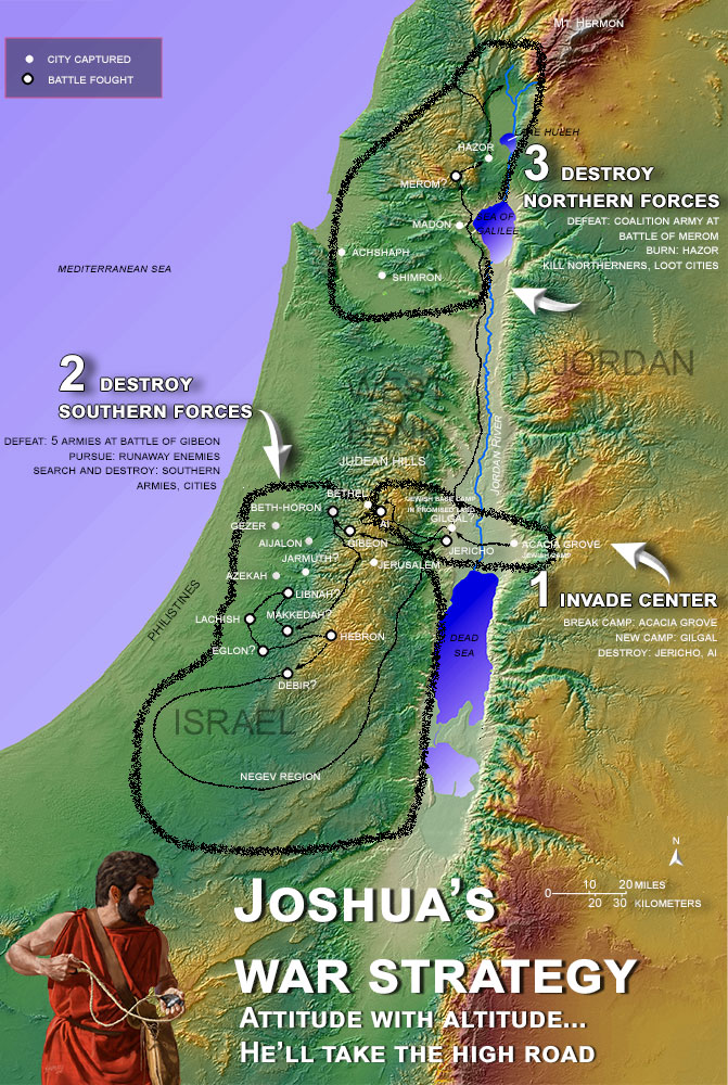 map of Joshua's war strategy