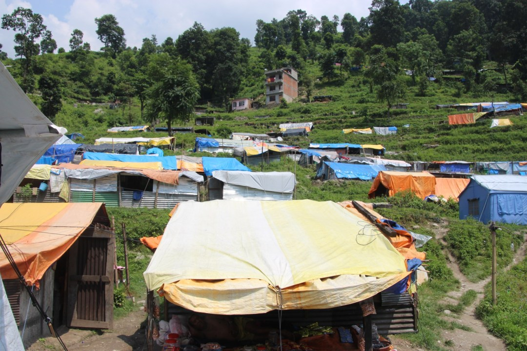 Tent city on the edge of town