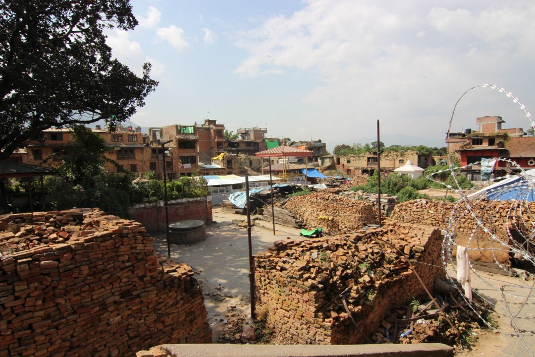Bricks stacked in the centre of town, ready for the rebuilding