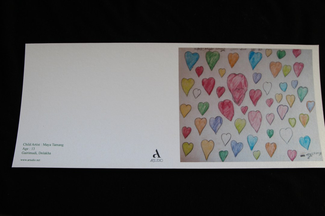 Greeting cards with the children's artwork