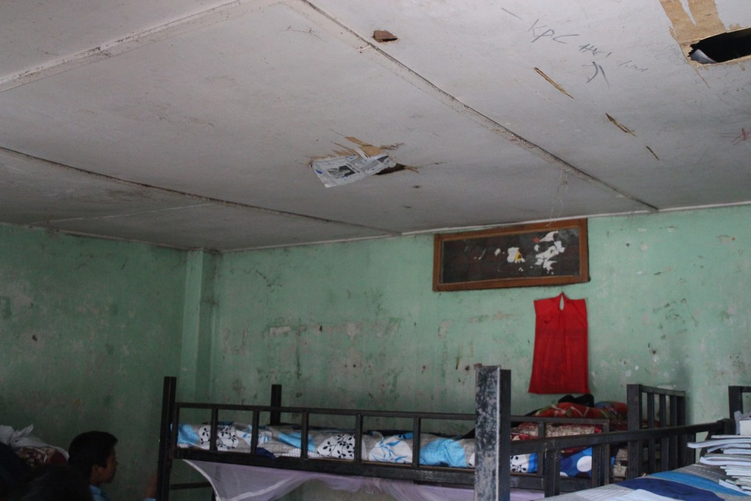 There are holes on many of the rooms ceilings