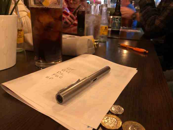 drinks and quiz answer sheet
