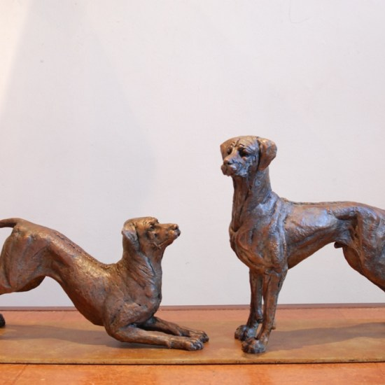 Rhodesian Ridgebacks,dogs,sculpture,bronze